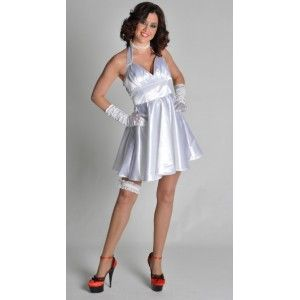 Déguisement Marilyn femme, costume robe années 50-60 satin blanc deluxe femme style rock'n roll, costume Magic by Freddy's.