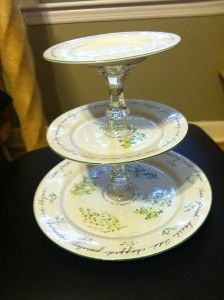 diy cupcake tier  / candlesticks and plates: Plates, Dollar Stores, Cupcake Stands, Diy Cupcake Stand, Thrift Stores, Diy Cupcakes Stands, Parties Ideas, Gorilla Glue, Diy Projects