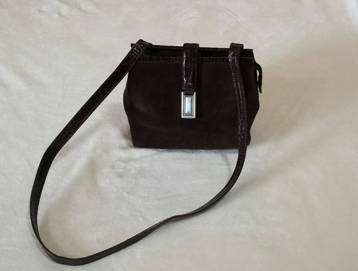 Fossil Rare Brown Suede leather Crossover Purse #Fossil #MessengerCrossBody