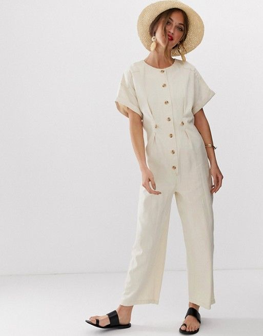 66011b6e143 DESIGN denim relaxed boilersuit in off white in 2019