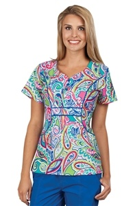 "Peaches Uniforms Emily Top in ""Fun And Fancy"" 4632-FNFY Emily Print Top #4632  100% Cotton  Sweetheart neckline, flower buttons  Seaming detail  Roomy J pockets  Length 26""  XS-3X $22.50 #scrubs #scrubcouture #nurses"