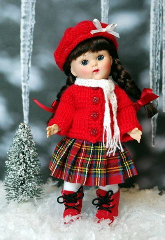 """**First Snowfall**...a Hand Knit Outfit for #Vogue #Ginny 7.5"""" #DoLLs ONE set available now, click to see where to purchase."""