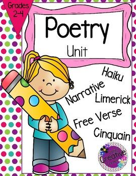This poetry unit consists of 5 types of poetry: ✿Haiku ✿Narrative ✿Limerick ✿Free Verse ✿Cinquain Included in this packet: ✿Definition Cards ✿Example Cards ✿Mystery Definitions Activity with printable cards ✿Mystery Definitions Worksheet/Printable ✿Writing Templates for