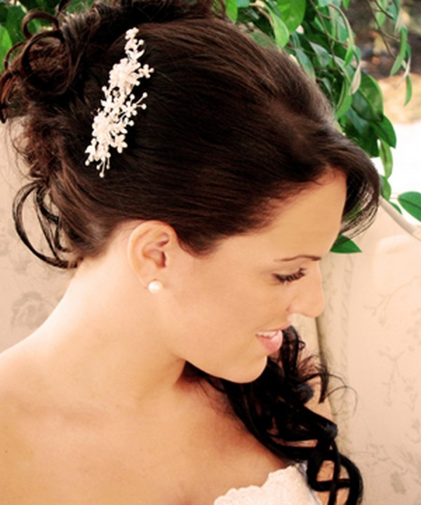 I wish I was able to see this style from another point of view, but I love the halfway down and half up style. Def what I want for a wedding style.