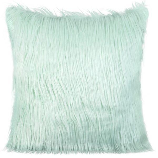 Chlpatá obliečky na vankúš 45x45 cm v mentolovej farbe