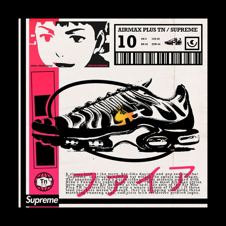 Nike Airmax Tn x Supreme Poster   Comic book cover, Book cover ...
