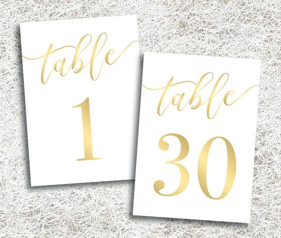Printable Gold Wedding Table Numbers 1 - 30   Instant Download   Printable Gold Table Numbers   Events   Banquet   Anniversary   Reception