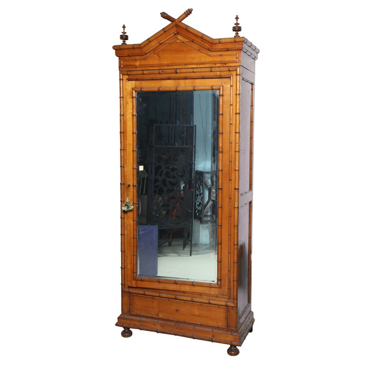 Nice 19th Century Large English Faux Bamboo Armoire