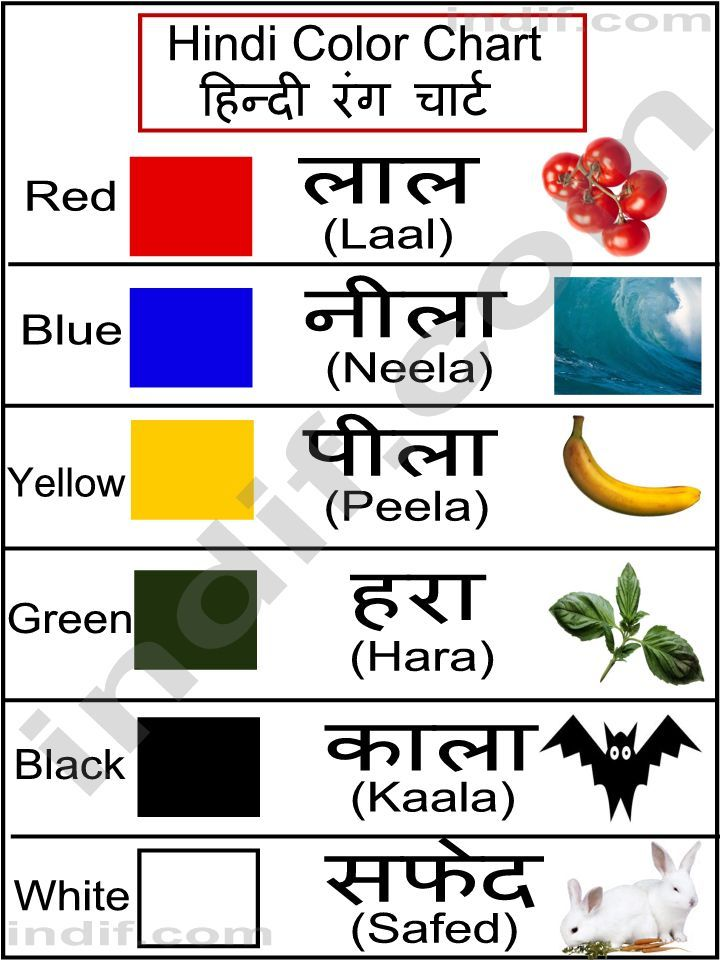 hindi colors | Hindi Color Chart, हिन्दी रंग चार्ट