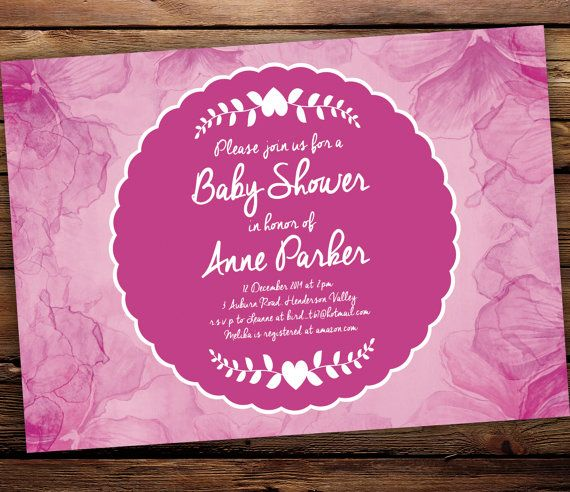 Printable Baby Shower Invitation  Pretty in by SixDaysCreations