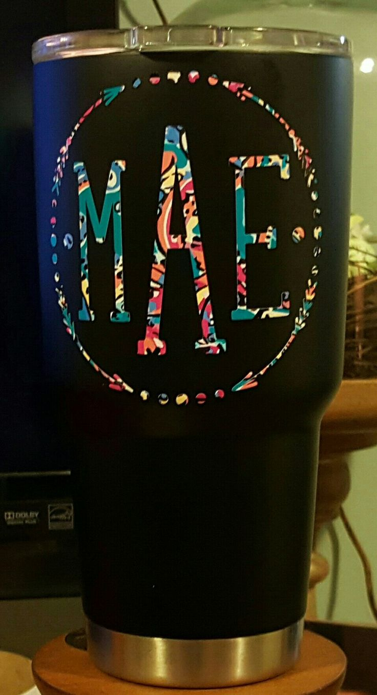I just monogrammed this black matte powder coated Yeti with patterned vinyl.  I love the way it turned out!