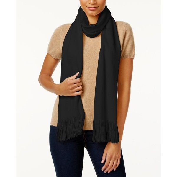 Echo Milk Made Scarf ($37) ❤ liked on Polyvore featuring accessories, scarves, black, fringe shawl, knit shawl, knit scarves, echo scarves and fringe scarves