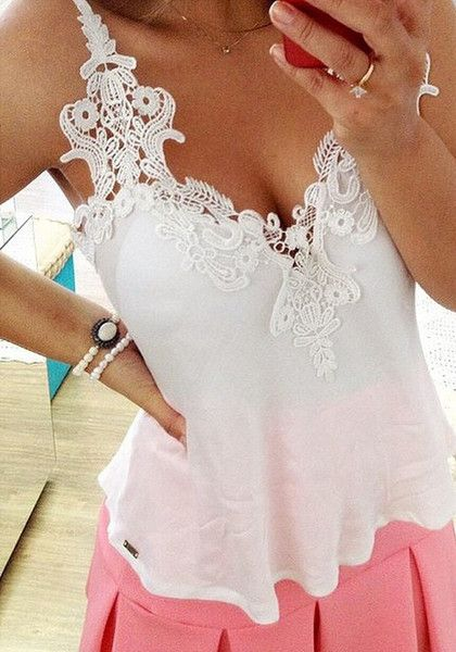 Crochet-Lace Trim Tank Top