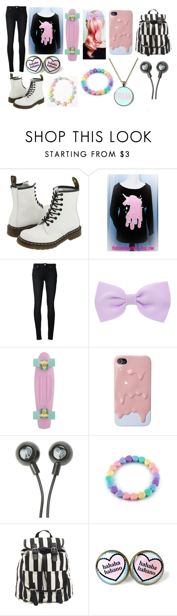 """""""pastel goth #8"""" by ironically-a-strider21 ❤ liked on Polyvore featuring Dr. Martens, BLK DNM, Accessorize and Charlotte Russe"""