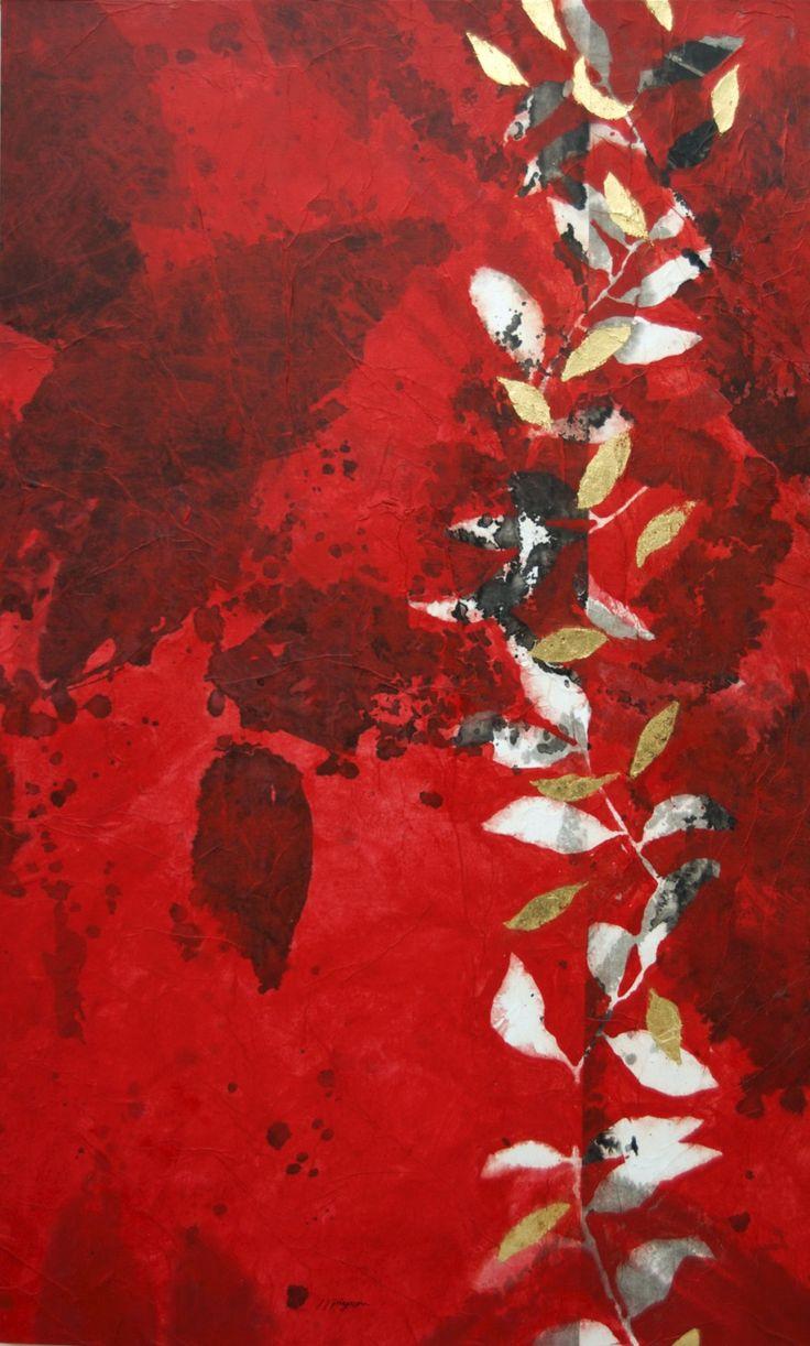 """""""Peinture d'effeuillage XLVI"""" painting by Jean Jacques Pigeon 2013 143×88 cm"""