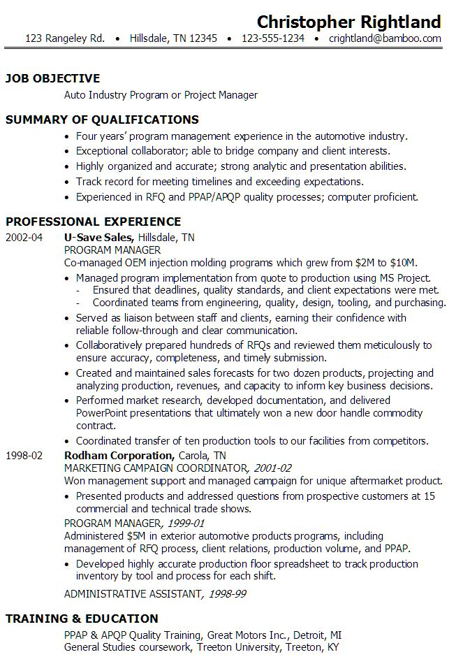 Sample Resume for someone seeking a job as a Program Manager or Project Manager in the Auto Industry