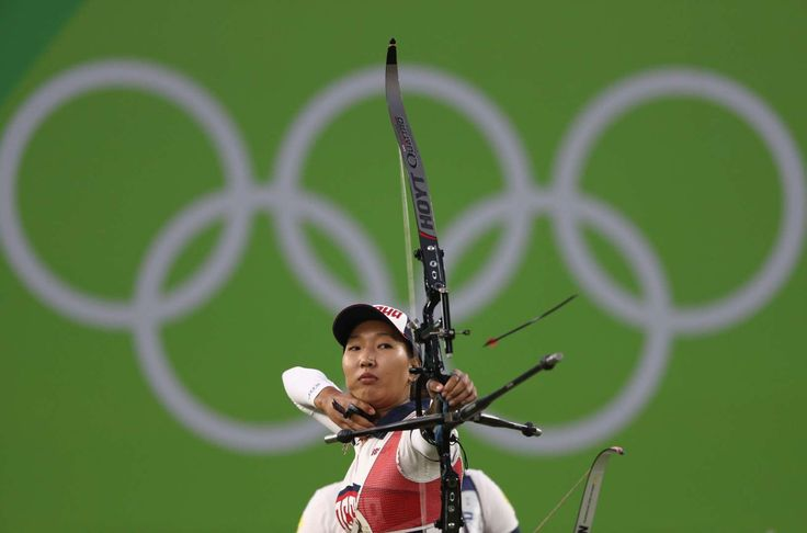 Targeting the bullseye:    Inna Stepanova of Russia competes during the Women's Archery Team Finals on Aug. 7.