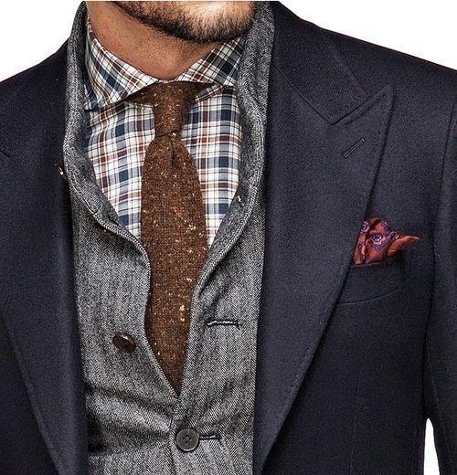Navy blazer, grey sweater, blue gingham shirt, brown wool tie, red pocket square