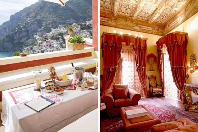 Don't want to stay in a hotel for your romantic getaway? This weekly rental in Positano, Italy (Photos: LaCure Villas) is set on a cliff and overlook Positano and the Mediterranean! #honeymoon