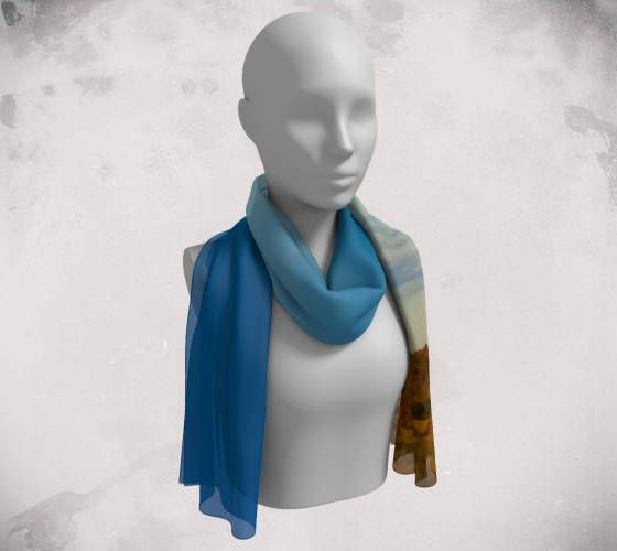 Brighton Landscape Long Scarf - Wee Dog - Wearable Art - Long - Blue - Chiffon -Charmeuse- Crepe - Rural - Blue Sky -Unique Photography by WeeDogWearableArt on Etsy
