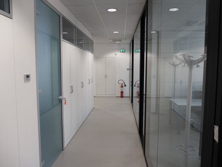 Equipped Wall Partitions Model ONE White and Glass - Glass Partitions Model CRYSTA DOUBLE Black Frame and Glass