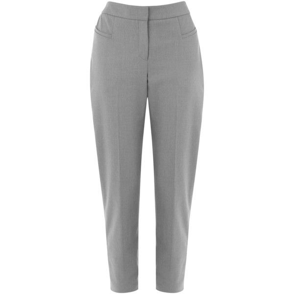 OASIS Bonnie Workwear Trousers ($29) ❤ liked on Polyvore featuring pants, grey, grey trousers, grey pants, pocket pants, tailored pants and gray pants