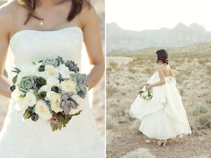Love the colors and choice of flowers/succulents in the bouquet! ...Vintage Eclectic Purple Nevada Wedding