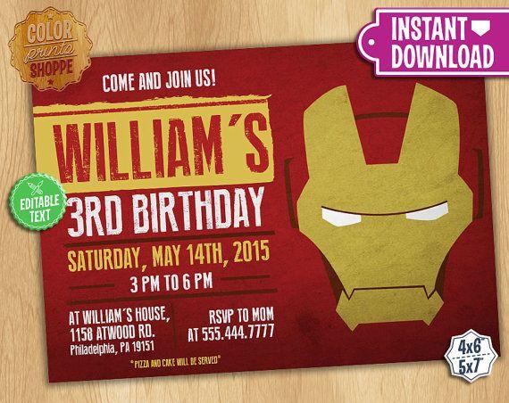 Invitación de IronMan  TEXTO EDITABLE  por ColorPrintsShoppe