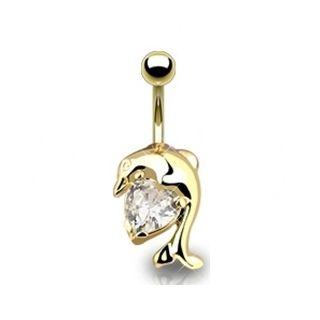 Gold Dolphin & Clear Gem Herz Bauchnabelpiercing Nicht Baumeln Bauchnabel Ring …   – Belly ring