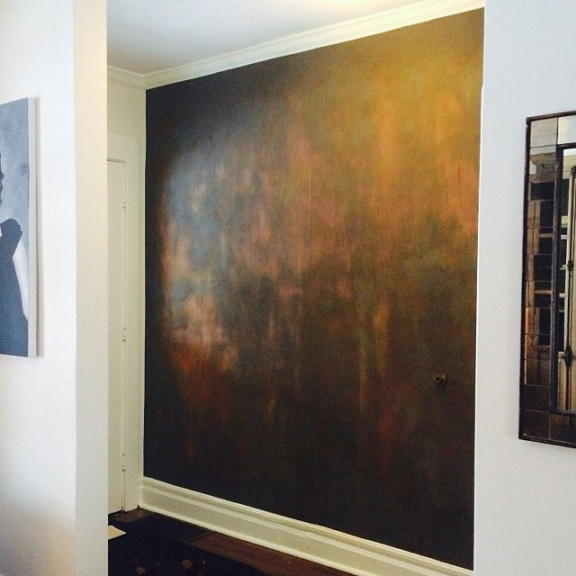 Focal Wall in Front Hall created with Modern Masters Iron Reactive Paint and Rust Activator | Project by Shayne Fox Design
