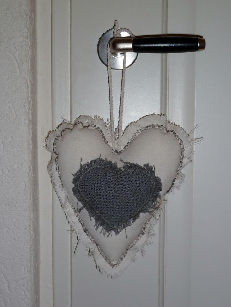 Decoratief hart. Linnen. ENJOY LIVING - Landelijk & Brocante