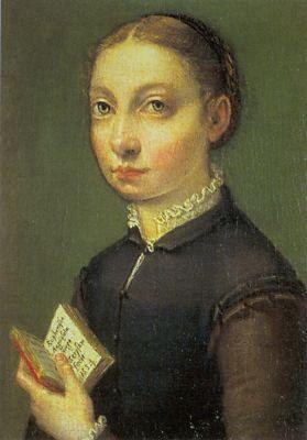 Ett självporträtt av konstnären Sofonisba Anguissola (c. 1535-1625). Hon brukar räknas till den en av de främsta konstnärerna under brytningstiden senrenässans och barock.
