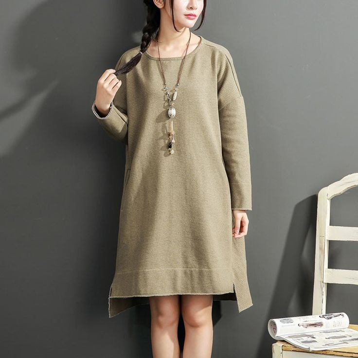 Irregular Loose Round Neck Light Green Dress