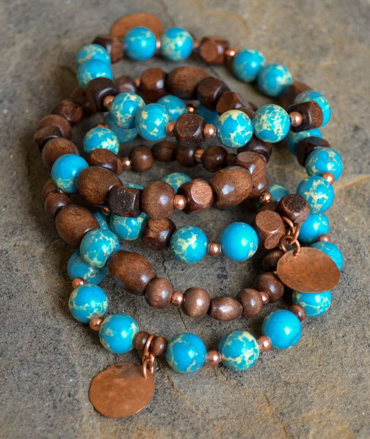 Wood Turquoise Jasper Bracelets