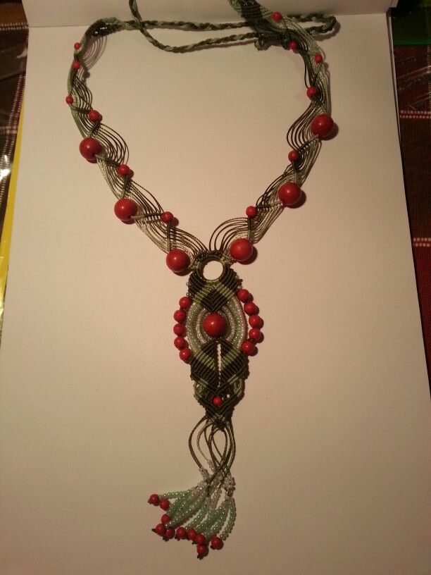Green and red macrame necklace.