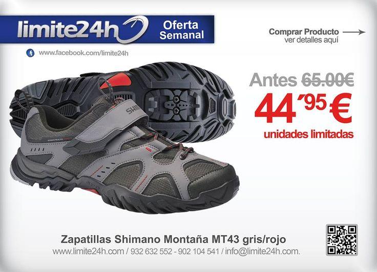 Bikers Ultimo dia para aprovechar esta oferta! http://limite24h.com/ Zapatillas Shimano Montaña MT43 gris/rojo - Solo por 44.95€ en http://limite24h.com/