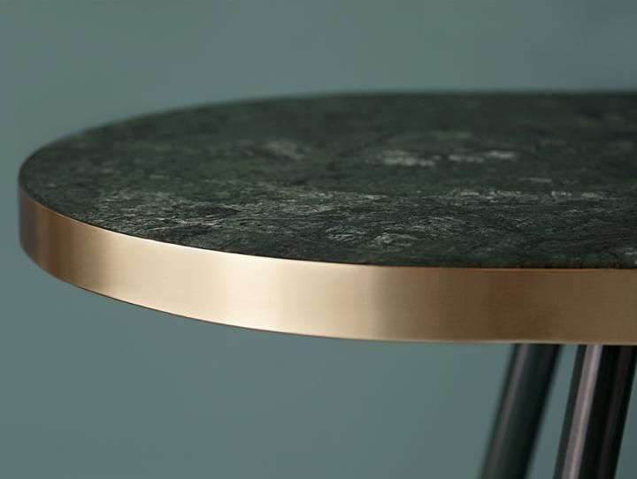 Bethan Gray Band Single Tone Dining Table... like the brushed brass edge