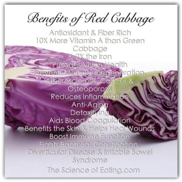 Cabbage in general helps lower cholesterol, and because it's part of the cruciferous family of vegetables, it helps lower the risk of many types of cancer. But did you know that RED cabbage is more nutrient dense than green cabbage? This fact is due to the rich red color of red cabbage and its concentration of anthocyanin polyphenols. Here are some other red-cabbage facts you maybe didn't know.