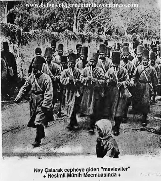 Kurtuluş savaşında Ney çalarak cepheye giden Konyalı Mevleviler.