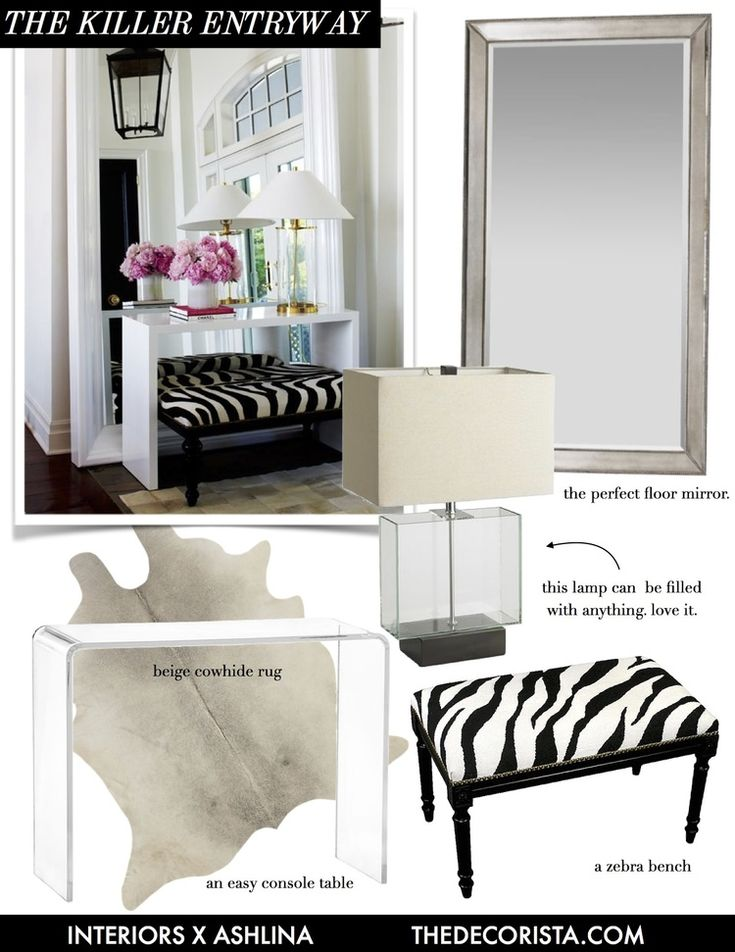Decorating recipe: the killer entryway            ashlina kaposta       March  7, 2016                       As a designer, I see a lot of tried and true looks that just really never go out of style. I want to start sharing them so that you guys can create these fab looks at home on a pretty affordable budget. Today, let's start at the beginning of the home. The entryway. Here is a simple recipe for a really killer entryway.This is one of my most favorite floor mirrors to date. It's simple…