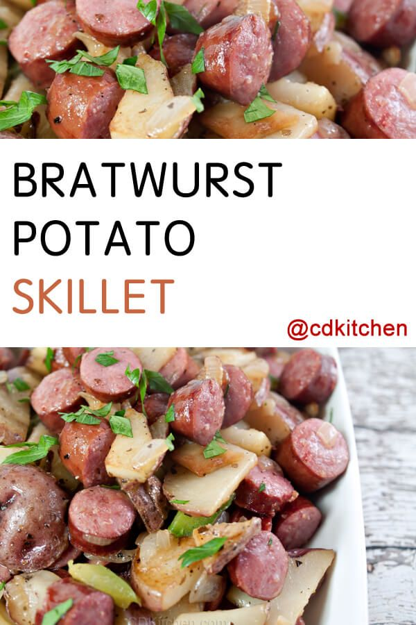 Sliced red potatoes and bratwurst are cooked in a skillet and coated with a soy sauce-orange juice glaze before serving. | CDKitchen.com