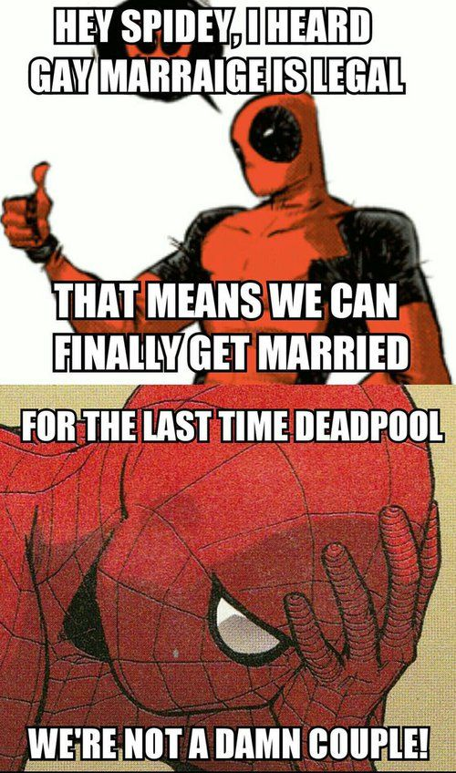 spideypool, wade x peter, and deadpool x spiderman  :)))) DEADPOOL JUST DOESN'T GET IT!:)))