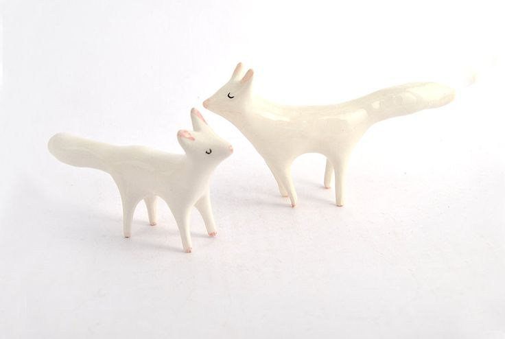 Arctic Fox Ceramic Miniature, Arctic Fox Totem in White Clay- Made to order by Barruntando on Etsy