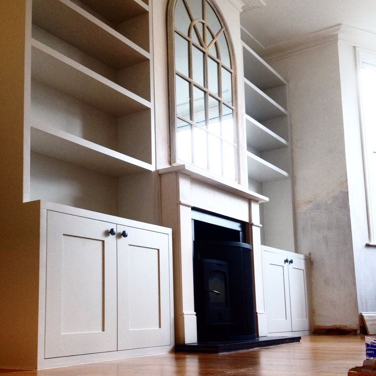 Fitted #bookcase and #cabinets hand painted in #farrowandball