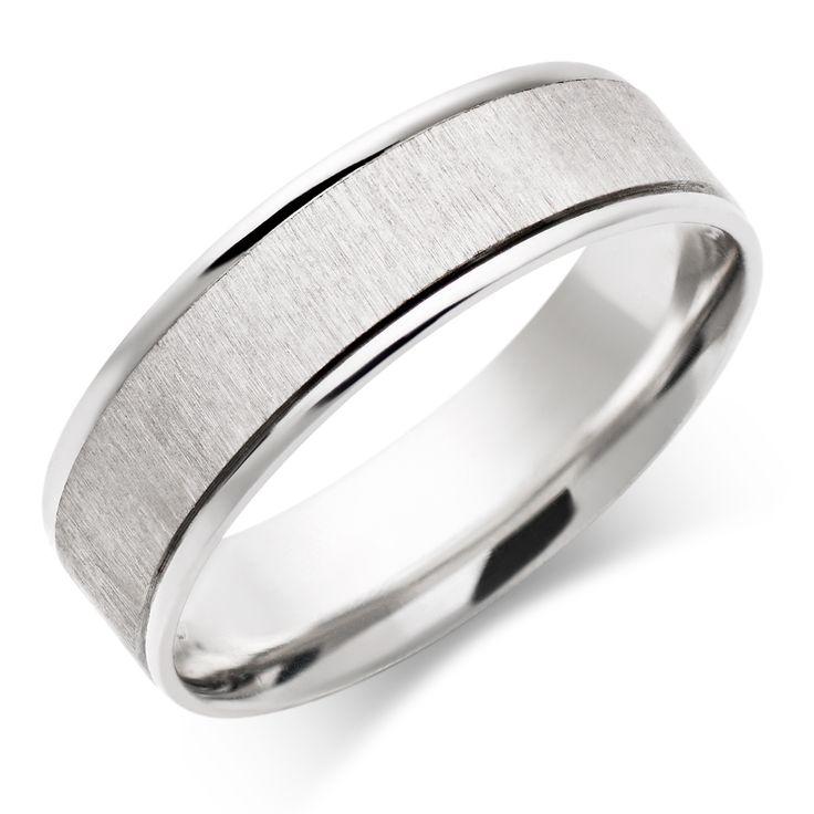 Wedding Rings For Men Regarding Men White Gold Wedding Ring Rough Flat Band Pccmed