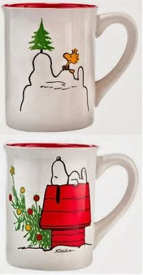 What's not to love about this Peanuts coffee mug? Snoopy is up to his usual...there's a Charlie Brown - ish Christmas tree and it's on a Christmas theme. Love it.