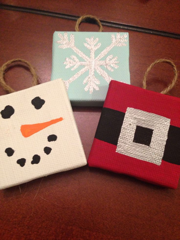 Handpainted mini canvas Christmas Ornaments  by OhmGrown on Etsy