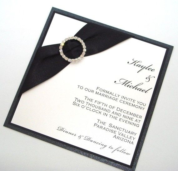 The Kaylee Couture Wedding Invitation Set   Black And White With Crystal  Buckle   Embellishedbytiffany.