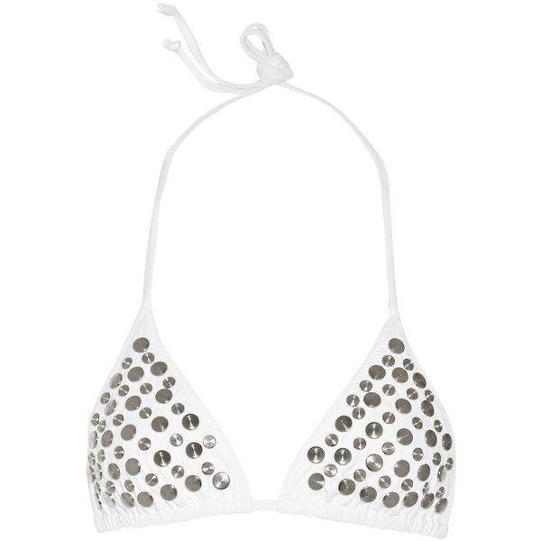 Norma Kamali Matsui embellished triangle bikini top (745 VEF) ❤ liked on Polyvore featuring swimwear, bikinis, bikini tops, white, triangle bikini top, white bikini, triangle bikini, white triangle bikini and triangle swim wear