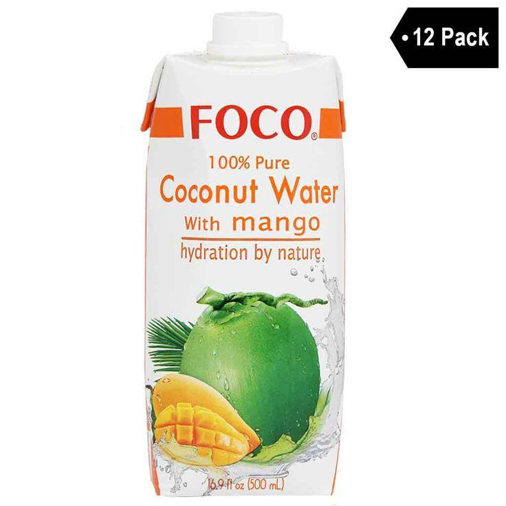 Foco 100% Pure Coconut Water with Mango (16.9 fl. oz. x 12)